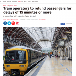 Train operators to refund passengers for delays of 15 minutes or more