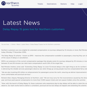 Delay Repay 15 goes live for Northern customers