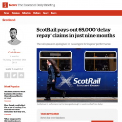 ScotRail pays out 65,000 'delay repay' claims in just nine months
